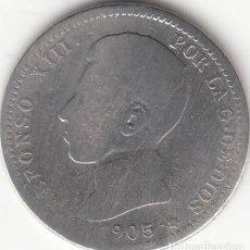 Monedas de España: ALFONSO XIII: 1 PESETAS 1905 / PLATA. Lote 236716170