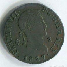 Monedas de España: FERNANDO VII, 2 MARAVEDÍS, 1827. SEGOVIA.. Lote 236789640