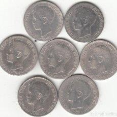 Monedas de España: LOTE 7 MONEDAS - ALFONSO XIII: 1 PESETA 1900 SMV / PLATA 33,7 GR. Lote 236812945