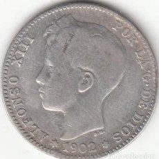 Monedas de España: ALFONSO XIII: 1 PESETA 1902 SMV / PLATA. Lote 236816495