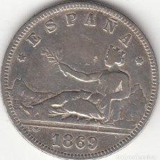 Monedas de España: I REPUBLICA: 2 PESETAS 1869 SNM / PLATA. Lote 236868185