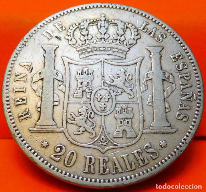 Monedas de España: ESPAÑA, 20 REALES, 1861. ISABEI II. MADRID. PLATA. (777) - Foto 2 - 237011390