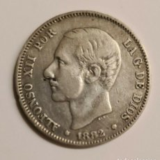 Monedas de España: MONEDA DE 2 PESETAS DE PLATA DE ALFONSO XII DE 1882. Lote 237116045
