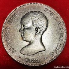 Monedas de España: MONEDA PLATA 5 PESETAS ALFONSO XIII DURO DE PLATA 1888 ESTRELLAS VISIBLES 18 88 MBC++ ORIGINAL D2818. Lote 237138490