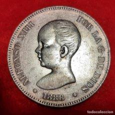 Monedas de España: MONEDA PLATA 5 PESETAS ALFONSO XIII DURO DE PLATA 1888 ESTRELLAS VISIBLES 8 88 MBC++ ORIGINAL D2820. Lote 237139250