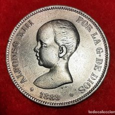 Monedas de España: MONEDA PLATA 5 PESETAS ALFONSO XIII DURO DE PLATA 1889 ESTRELLAS VISIBLES 18 89 MBC++ ORIGINAL D2822. Lote 237139810