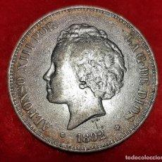 Monedas de España: MONEDA PLATA 5 PESETAS ALFONSO XIII DURO DE PLATA 1892 ESTRELLAS VISIBLES 18 92 MBC+ ORIGINAL D2829. Lote 237146210