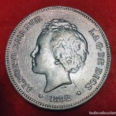 Monedas de España: MONEDA PLATA 5 PESETAS ALFONSO XIII DURO DE PLATA 1892 ESTRELLAS VISIBLES 18 92 MBC+ ORIGINAL D2830. Lote 237146460