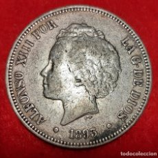Monedas de España: MONEDA PLATA 5 PESETAS ALFONSO XIII DURO PLATA 1893 PGV ESTRELLAS VISIBLES 18 93 MBC+ ORIGINAL D2834. Lote 237147780