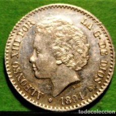 Monedas de España: ALFONSO XIII, 50 CENTIMOS, 1894 *9-4, SC-, AG, RESTO DE BRILLO ORIGINAL.. Lote 237477870