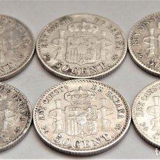 Monedas de España: 6 MONEDAS 50 CTS ALFONSO XIII 1892. Lote 237481985