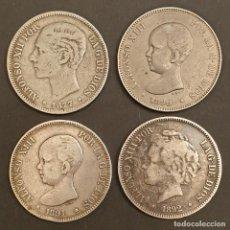Monedas de España: LOTE 4 MONEDAS DE PLATA DE 5 PESETAS, 1877, 1890, 1891 Y 1892. ALFONSO XII Y ALFONSO XIII.. Lote 237501450