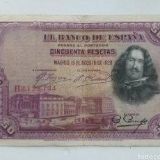 Monedas de España: BILLETE 50 PESETAS 1928 VELÁZQUEZ. Lote 237759175