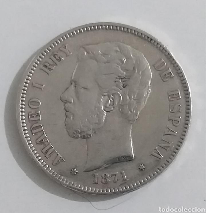 MONEDA DE 5 PESETAS DE PLATA 1871 AMEDEO I REY (Numismática - España Modernas y Contemporáneas - De Isabel II (1.834) a Alfonso XIII (1.931))