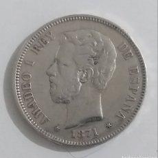 Monedas de España: MONEDA DE 5 PESETAS DE PLATA 1871 AMEDEO I REY. Lote 237771415