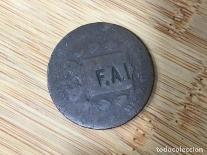 F. A . I. MONEDA MONARQUICA CON RESELLO ANARQUISTA, VER FOTOS (Numismática - España Modernas y Contemporáneas - De Isabel II (1.834) a Alfonso XIII (1.931))