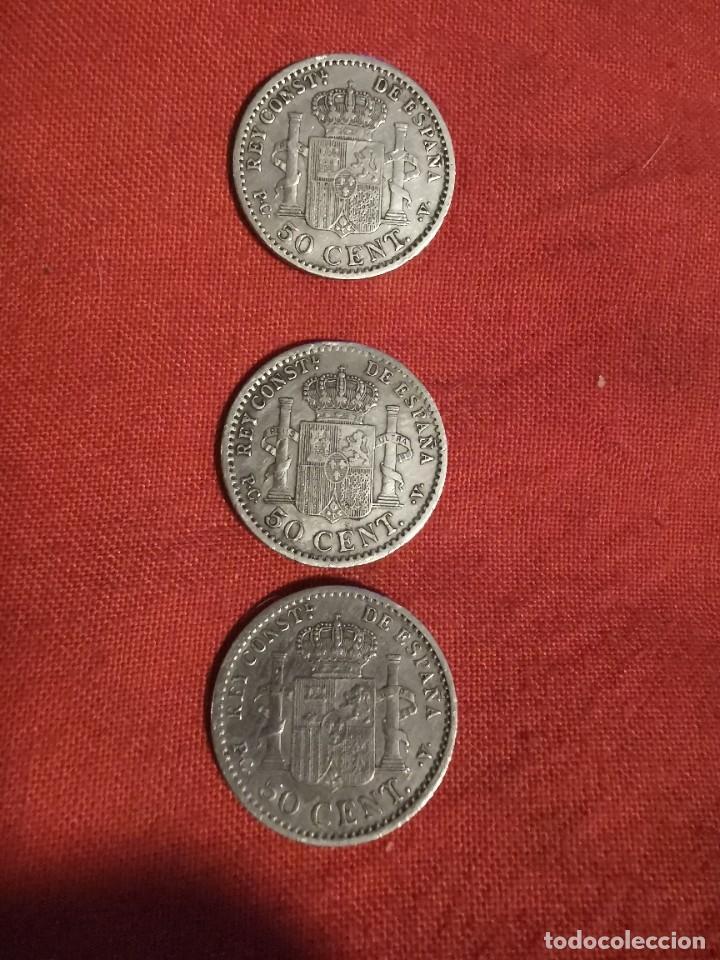 Monedas de España: 3 monedas de Alfonso XIII. 50 ct. Plata. 1904 y 1910 - Foto 2 - 238701595