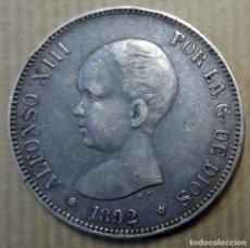 Monedas de España: MONEDA DE PLATA 5 PESETAS ALFONSO XIII 1892. Lote 240686950