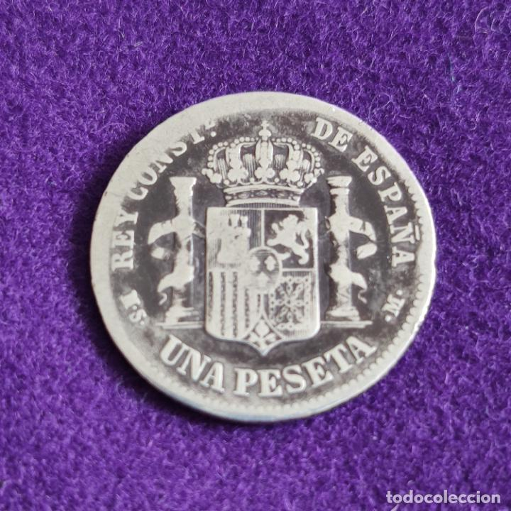 Monedas de España: MONEDA DE 1 PESETA DE ALFONSO XII. PLATA. 1881. ESPAÑA. ORIGINAL. - Foto 2 - 240854695