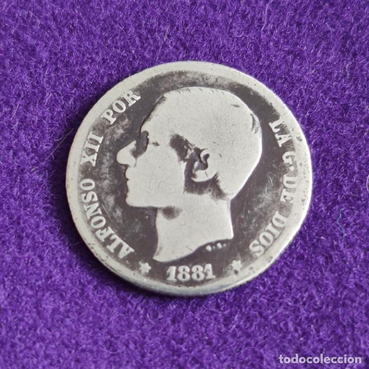 MONEDA DE 1 PESETA DE ALFONSO XII. PLATA. 1881. ESPAÑA. ORIGINAL. (Numismática - España Modernas y Contemporáneas - De Isabel II (1.834) a Alfonso XIII (1.931))