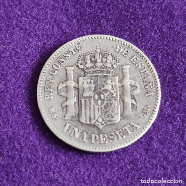 Monedas de España: MONEDA DE 1 PESETA DE ALFONSO XII. PLATA. 1882. *_ - 82. ESPAÑA. ORIGINAL. - Foto 2 - 240854890