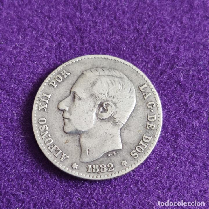 MONEDA DE 1 PESETA DE ALFONSO XII. PLATA. 1882. *_ - 82. ESPAÑA. ORIGINAL. (Numismática - España Modernas y Contemporáneas - De Isabel II (1.834) a Alfonso XIII (1.931))