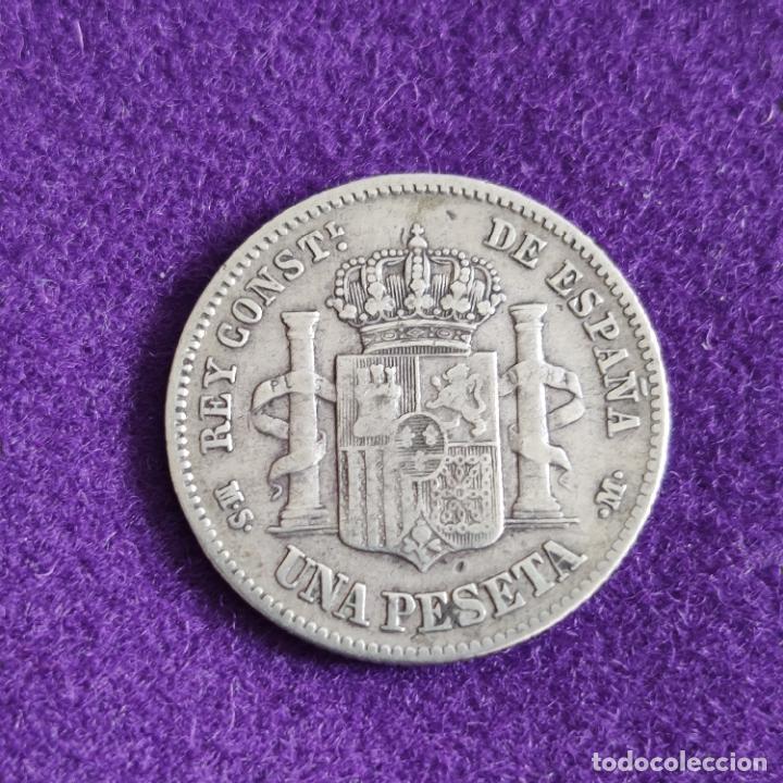 Monedas de España: MONEDA DE 1 PESETA DE ALFONSO XII. PLATA. 1883. *_ - 83. ESPAÑA. ORIGINAL. - Foto 2 - 240854980
