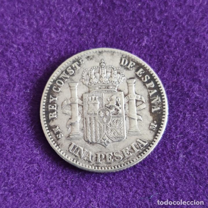 Monedas de España: MONEDA DE 1 PESETA DE ALFONSO XII. PLATA. 1885. ESPAÑA. ORIGINAL. - Foto 2 - 240855375