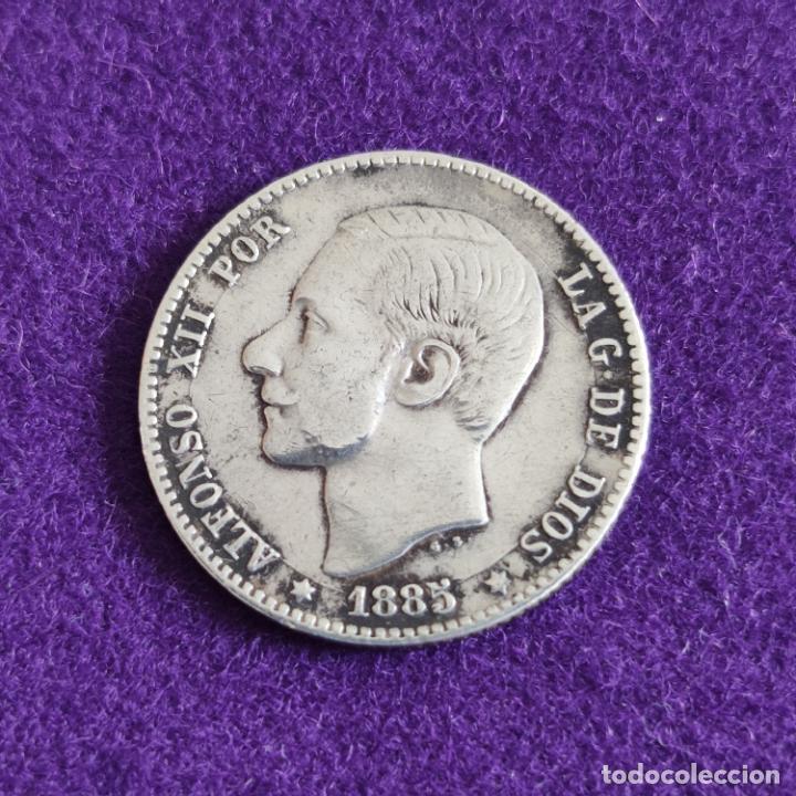 MONEDA DE 1 PESETA DE ALFONSO XII. PLATA. 1885. ESPAÑA. ORIGINAL. (Numismática - España Modernas y Contemporáneas - De Isabel II (1.834) a Alfonso XIII (1.931))