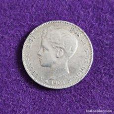 Monete da Spagna: MONEDA DE 1 PESETA DE ALFONSO XIII. PLATA. 1901. *19 - 01. ESPAÑA. ORIGINAL.. Lote 240856355