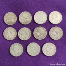 Monedas de España: 11 MONEDAS DE PLATA DE 2 PESETAS ESPAÑA. DIFERENTES. ORIGINALES. 1ªREPUBLICA, ALFONSO XII Y XIII.. Lote 240859900
