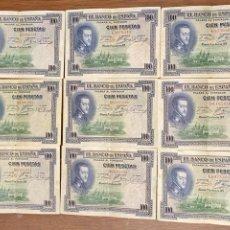 Monedas de España: LOTE 9 BILLETES 100 PESETAS JULIO DE 1925. Lote 241787165