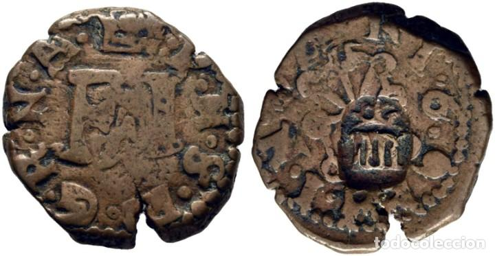 FELIPE III. PAMPLONA. 4 CORNADOS. 1·6·9. CY4246 VARIANTE. RR 4.4.14.2 VARIANTE POR LA LEYENDA ·P·H·S (Numismática - España Modernas y Contemporáneas - De Reyes Católicos (1.474) a Fernando VII (1.833))