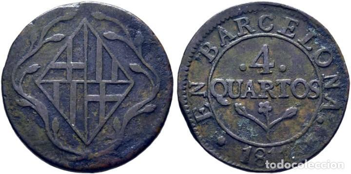 JOSÉ NAPOLEÓN. BARCELONA. 4 CUARTOS. 1811. MBC+ (Numismática - España Modernas y Contemporáneas - De Reyes Católicos (1.474) a Fernando VII (1.833))