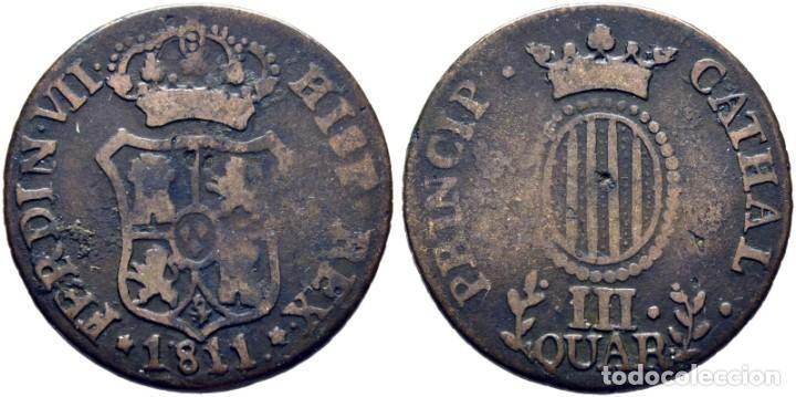 FERNANDO VII. CATALUÑA (TARRAGONA Y PALMA DE MALLORCA). 3 CUARTOS. 1811.MBC- (Numismática - España Modernas y Contemporáneas - De Reyes Católicos (1.474) a Fernando VII (1.833))