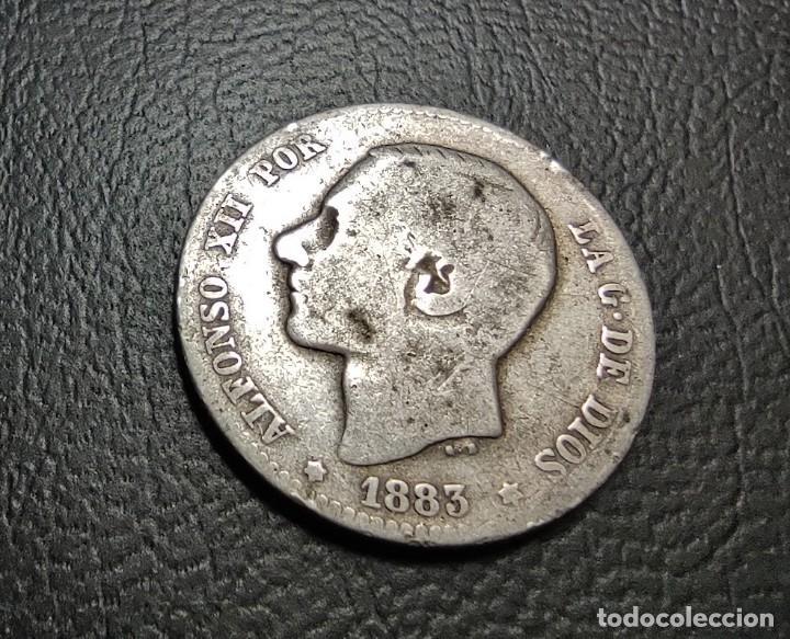 ESPAÑA 1 PESETA 1883 MS M ESTRELLAS NO VISIBLES PLATA. , ¡¡¡LIQUIDACION COLECION!!! (Numismática - España Modernas y Contemporáneas - De Isabel II (1.834) a Alfonso XIII (1.931))