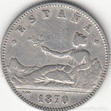 Monedas de España: I REPUBLICA: 1 PESETA 1870 SNM - ESTRELLAS 19-70 / PLATA. Lote 141125474