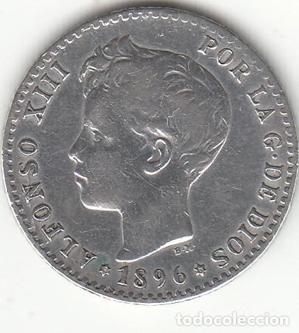 ALFONSO XIII: 50 CENTIMOS 1896 * 9-6 / PLATA (Numismática - España Modernas y Contemporáneas - De Isabel II (1.834) a Alfonso XIII (1.931))