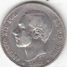 Monedas de España: ALFONSO XII: 1 PESETA 1882 ESTRELLAS 18-82 ( PLATA ). Lote 147721566