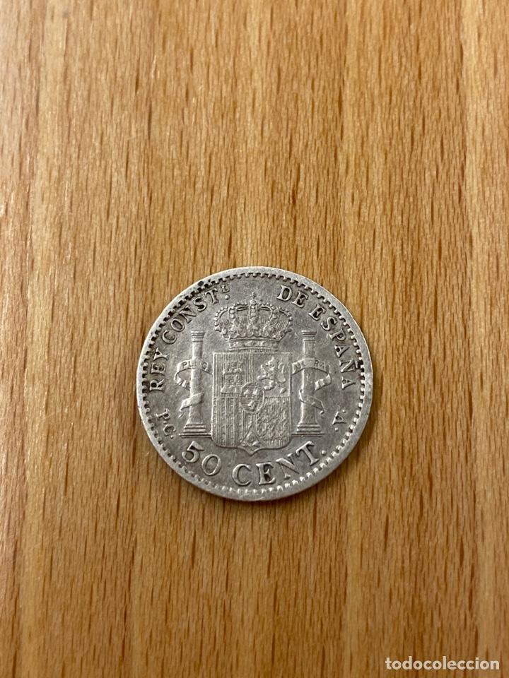 MONEDA 50 CÉNTIMOS ALFONSO XIII PLATA 1910 ESTRELLAS 1 0 (Numismática - España Modernas y Contemporáneas - De Isabel II (1.834) a Alfonso XIII (1.931))