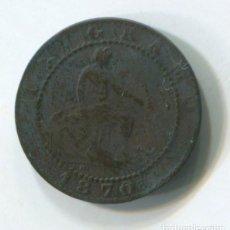Monedas de España: ESPAÑA, GOBIERNO PROVISIONAL. UN CÉNTIMO DE 1870. Lote 243864940