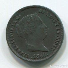 Monedas de España: ESPAÑA. ISABEL II. 5 CENTIMOS DE REAL DE 1860. SEGOVIA. PRECIOSOS. Lote 243869240