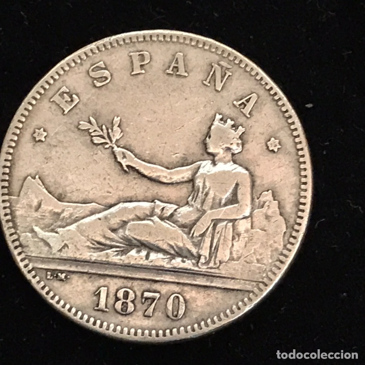 ANTIGUA MONEDA DE 2 PESETAS. PLATA. 1870 *75 (Numismática - España Modernas y Contemporáneas - De Isabel II (1.834) a Alfonso XIII (1.931))