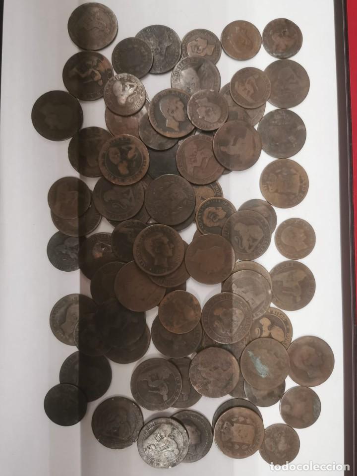GRAN LOTE DE 81 MONEDAS DE COBRE DE 5 Y 10 CENTIMOS ENTRE LOS AÑOS 1870 A 1878 (Numismática - España Modernas y Contemporáneas - De Isabel II (1.834) a Alfonso XIII (1.931))
