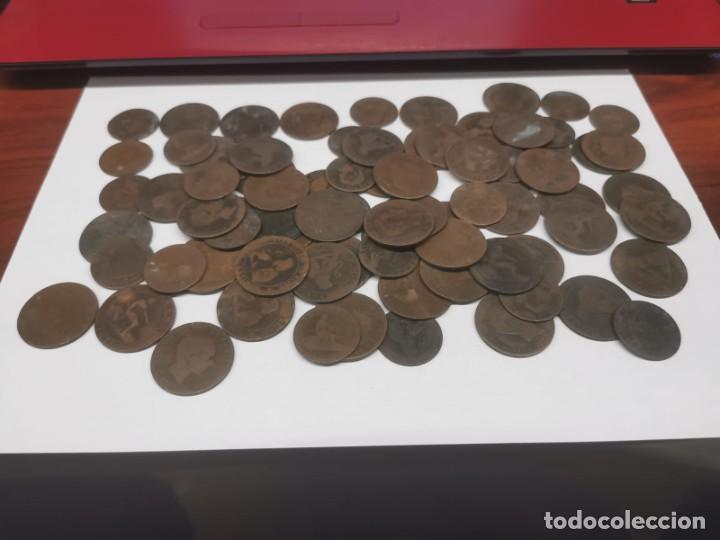 Monedas de España: Gran lote de 81 monedas de cobre de 5 y 10 centimos entre los años 1870 a 1878 - Foto 2 - 245786925