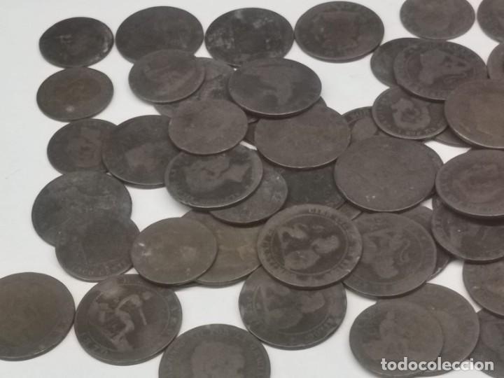 Monedas de España: Gran lote de 81 monedas de cobre de 5 y 10 centimos entre los años 1870 a 1878 - Foto 3 - 245786925