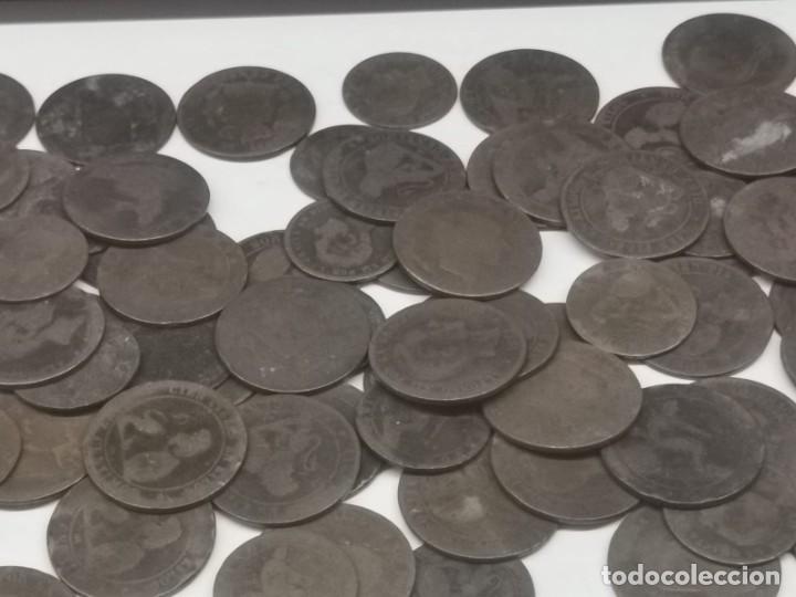 Monedas de España: Gran lote de 81 monedas de cobre de 5 y 10 centimos entre los años 1870 a 1878 - Foto 4 - 245786925