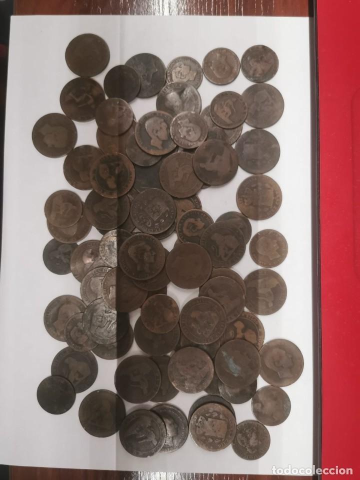 Monedas de España: Gran lote de 81 monedas de cobre de 5 y 10 centimos entre los años 1870 a 1878 - Foto 6 - 245786925