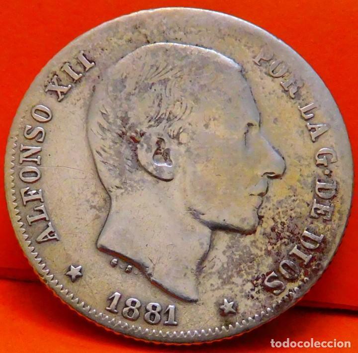 ESPAÑA-ISLAS FILIPINAS, 20 CTS DE PESO, 1881. ALFONSO XII. PLATA. (961) (Numismática - España Modernas y Contemporáneas - De Isabel II (1.834) a Alfonso XIII (1.931))