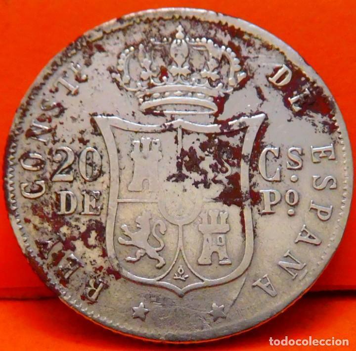 Monedas de España: ESPAÑA-ISLAS FILIPINAS, 20 CTS DE PESO, 1881. ALFONSO XII. PLATA. (961) - Foto 2 - 245949790